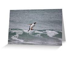 Surfing in gentoo's style Greeting Card