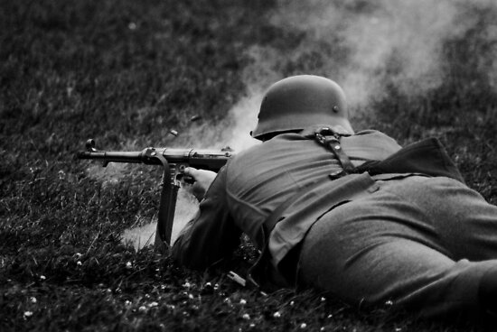 German WWII Soldier Firing by Guy Carpenter