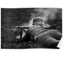 German WWII Soldier Firing Poster