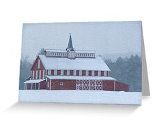 Red Barn in Snowstorm Greeting Card