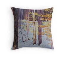 Winter Woods oil painting Throw Pillow
