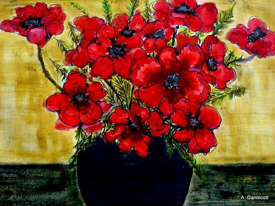 Red Anemones  by Angela Gannicott