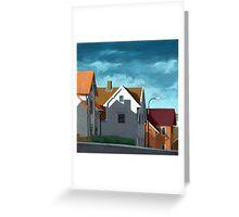 Row Houses - suburban street oil painting Greeting Card