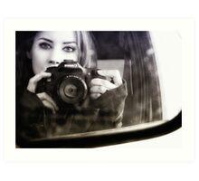 On the Road (Self Portrait in Rearview Mirror) Art Print