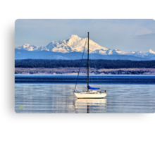 Waves, Boat, Mountain Canvas Print