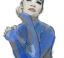 Girl in Blue Turtleneck by DaveYoung