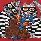 'Cracked Cat-Burglars' - Naughty Pussy Cats! by Lisa Frances Judd ~ QuirkyHappyArt