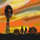 Outback Family at sunset  by Kate Farrant