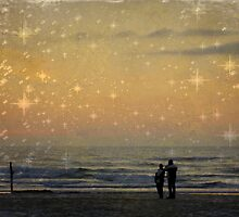 Lovers on the Beach at Sunset by Chappy