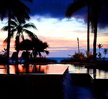 sunset over sheraton resort pool by chelka09