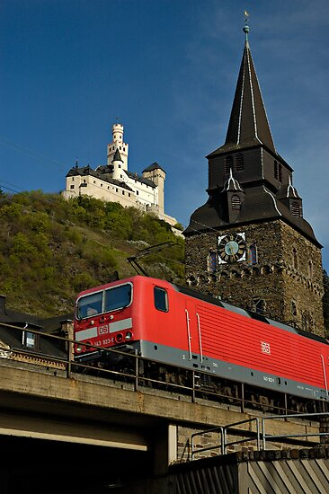 Train passing the Marksburg Castle, Germany. by David A. L. Davies