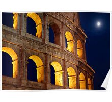 Colosseum and Moon Poster