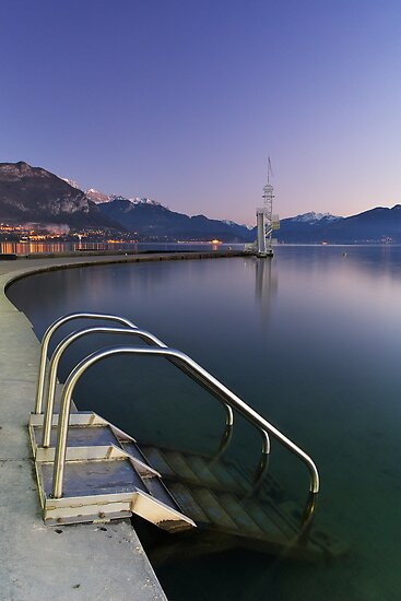 Annecy - Dusk on the Imperial beach by Patrick Morand