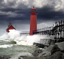 Grand Haven Pier in a Storm by Randall Nyhof