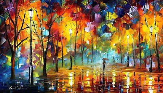 Night Life - original oil painting on canvas by Leonid Afremov by Leonid  Afremov