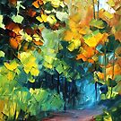 forest - original oil painting on canvas by Leonid Afremov by Leonid  Afremov
