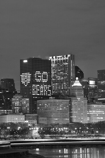 Chicago Skyline Night View by mnkreations