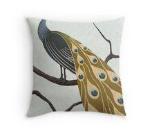 a peacock Throw Pillow