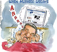 When Mubarek Dreams by Londons Times Cartoons by Rick  London