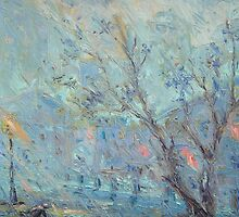 Evening Rainfall  / 1987 / oil on cardboard by Ivan KRUTOYAROV
