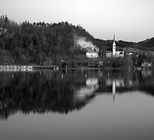 View across Lake Bled in Black and White, Slovenia by Ian Middleton