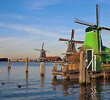 Windmills in Zaanse Schans by scubacro
