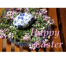 happy easter egg and flowers Photographic Print