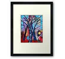 'Trees in an Abstract Sunset' Framed Print