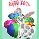 Happy Easter, Bunny and Easter Eggs by Mary Taylor