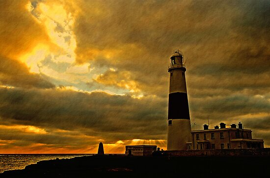 Portland Lighthouse & Obelisk at Dusk, Dorset, UK by buttonpresser
