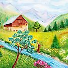 Alpine scenery by daffodil