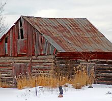 Red Barn in Winter - Aylmer Quebec by Debbie Pinard