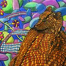 320 - BRICK BEAR WITH FLOWERS - DAVE EDWARDS - COLOURED PENCILS - 2011 by BLYTHART