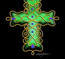 Cross Ornament - Green by TdaoUrchin