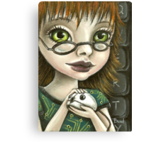 Geek girl and her pet mouse Canvas Print