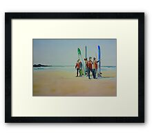 Tofino Surfers, watercolor on paper Framed Print