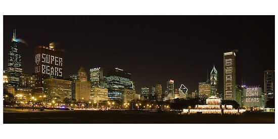 Chicago Bears  in the Chicago Skyline by Patrick  Warneka