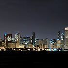 Chicago skyline celebrating the Black Hawks by Patrick  Warneka