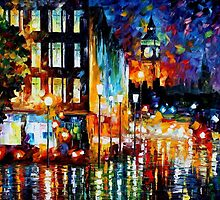 Londons lights - original oil painting on canvas by Leonid Afremov by Leonid  Afremov