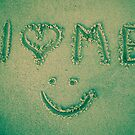 I love me - written in the sand by NicoleBPhotos