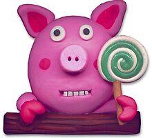 sweet sucker pig by claygirrl