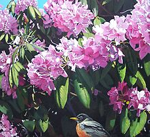 """Rhododendron and Robin"" by Frank Boudreau"