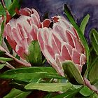 Protea in Watercolor by Marie Luise  Strohmenger