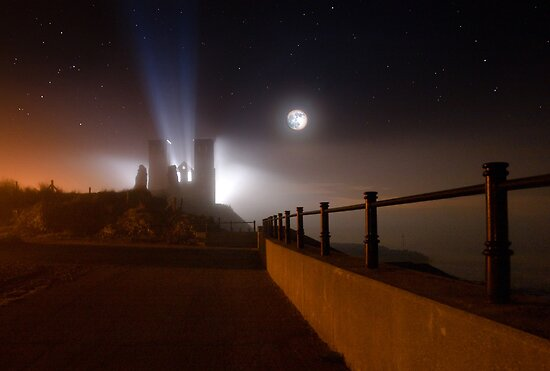 Reculver Towers in silhouette by Geoff Carpenter