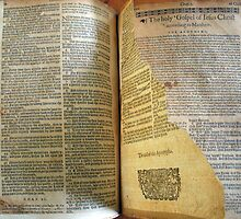 Lothrop Bible with Torn Page by sturgislibrary