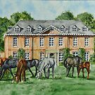 Thoroughbreds Grazing At Squerryes Court by Charlotte  Blanchard