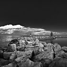 Jordan Harbour Breakwater B&amp;W by Daphne Johnson