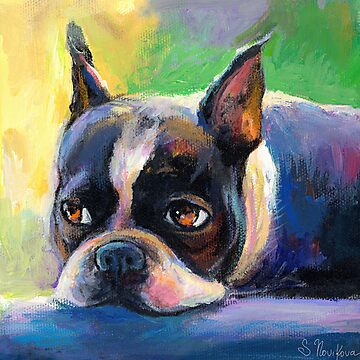 Boston Terrier pensive Dog painting Svetlana Novikova by Svetlana  Novikova