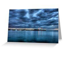 Hebridean Princess in Peel Harbour under a moody sky Greeting Card