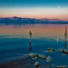 Salton Sea Moon Set, Early AM by photosbyflood